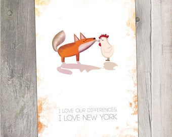 Funny love postcard - Differences and love in New York - Fox & Hen