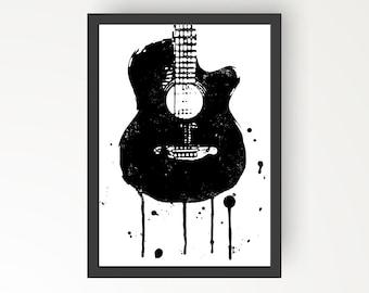 Acoustic Guitar Black & White Ink illustration - Digital Print Poster - A4, A3