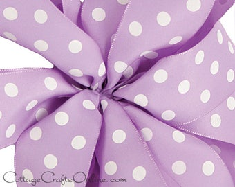 "Polka Dot Ribbon 1 1/2"" Lavender with White Polka Dots, THREE YARDS, Offray ""Eloise"" NON wired"