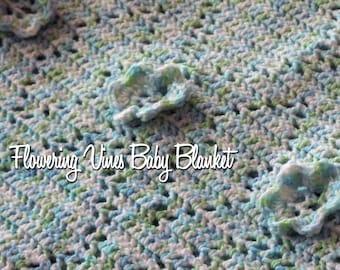 Flowering Vines Baby Blanket Crochet Pattern