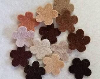 Wool Blend Felt Flowers - Woods assortment 13 or 26  pcs Tan Brown Beige