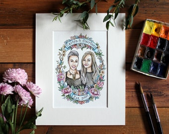 Unique gift for sisters, Sister's gift, Custom portrait illustration, Custom watercolour, Best friend's gift, Gifts for her, Bff gift.