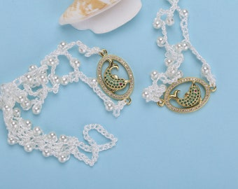 Crystal Dolphins Ivory Pearl Anklet Foot Jewelry Beach Wedding Barefoot Sandals