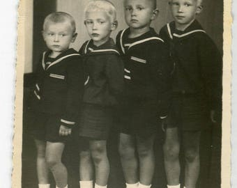 CUTE! Four little boys in sailor suit, 1947 Russian family photo, brothers identical siblings, boy photo old snapshot vintage photo #1352