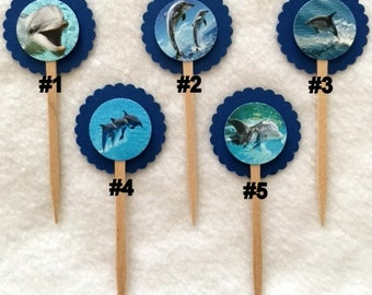 Set Of 12 Dolphin Party Cupcake Toppers (Your Choice Of Any 12)
