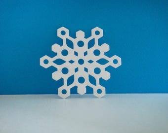 White snowflakes cut foam for creation for Christmas, 7.3 cm diameter