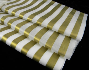Gold Stripe Tissue Paper | 12 Tissue Sheets | Gold on White | Baby Shower Birthday Party Graduation Gift Wrap | Holiday Packaging |