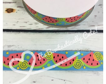 "7/8"" Grosgrain Yellow Glitter Watermelon High Quality USDR Ribbon"