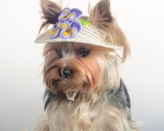 Hat for dog Pansy / Puppy Hat / Sun Hat Dog / Cap For Dog / Dog Top Hat / Flower Dog Hat/ Crocheted dog hats / Pet Photo Prop / Knit hat dog