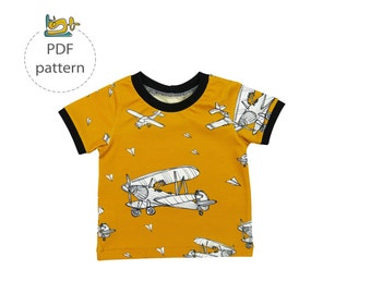 Baby t-shirt sewing pattern, long sleeve t-shirt pattern, short sleeve t-shirt pattern, pdf sewing pattern, basic tee sewing pattern