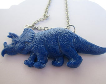 Triceratops necklace blue
