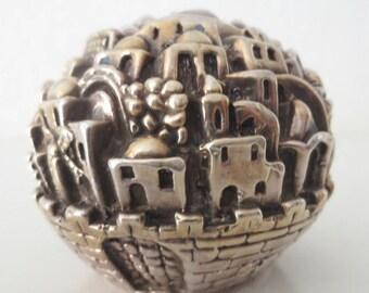 1998 Sterling Silver Jerusalem Sculpture/Paperweight/Globe, Sam Philipe, Jubilee 50, 139 Grams