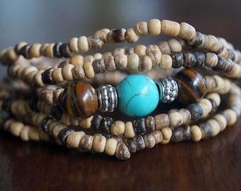 Boho Coconut Wrap Bracelet, Turquoise Tiget Eye Elastic Band Bracelet, Boho Necklace, Headband