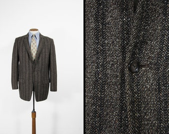 Vintage Striped Tweed Jacket 1960s Fleck Grey Wool Sport Coat 3 Roll 2 - Size 40 L