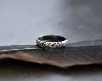 Sterling Silver Engagement Ring Sterling Silver Wedding Ring Plain Band Floral Ring Simple Wedding Ring Affordable Gift For Mom Gift For Her