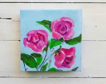 Rose painting, Rose art, pink rose art, rose original mini painting by Shirley Lowe, rose lover gift, gardener gift, rosarian gift, pink art