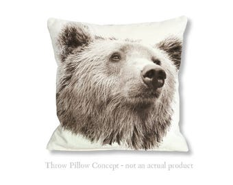 Grizzly Bear Wildlife Illustration for your home decor DIY Projects or products - Pillow not included
