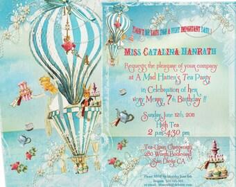 Alice In Wonderland Tea at Four O'Clock Invitations, Birthday Invitations, Girl's Party Invitations, Shower, Wedding Set of 6