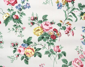 1940s Vintage Wallpaper by the Yard - Floral Vintage Wallpaper Pink and Yellow Rose Bouquets