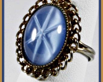 Vintage Starburst Ring,Vintage Ring,Vintage Adjustable Ring,Vintage Blue Starburst Ring,Vintage Blue Ring,Vintage Blue Jewelry,Vintage Blue