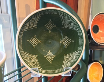 "6"" Green Carved Porcelain Bowl"
