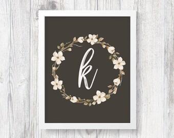Floral Monogram, Letter K, Digital Download