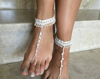 free shipping, İvory barefoot sandals, pearl foot Jewelry, Beach wedding accessory, pearl barefoot shoes,crochet anklet summer shoes