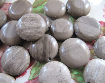 22 Natural Marble Beads in Grey Shades, Flat Round, Approx 16mm - 18mm, Coin Beads
