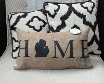 "Black Michigan Home 8"" x 16"" Burlap Farmhouse Pillow - coffee bean sack - couch cushion - michigan decor - jute - mitten state - gift"