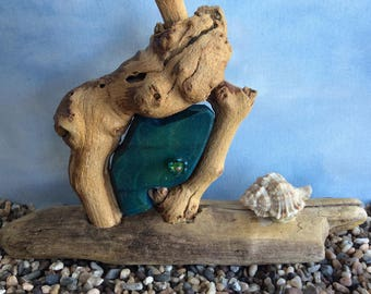 Caribbean Blue Beachcomber Fairy Door with Shell