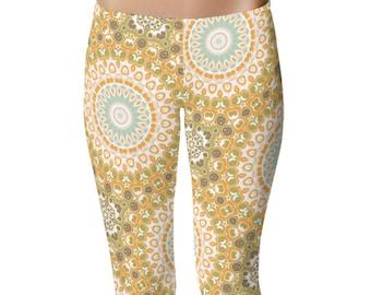 Mid Rise Waist Workout Leggings, Yoga Clothes for Women, Earthy Mandala Leggings Soft