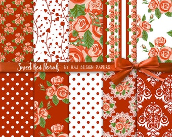 "Flower digital paper : ""Sweet Red Florals"" red digital paper with roses in shabby chic style, floral digital paper, shabby chic paper"