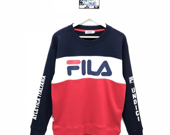 Rare!!! Vintage Fila Sweatshirt Multicolour Big Logo Spell Out Pullover Jumper Sweater Crew Neck Size L Fit To Size M