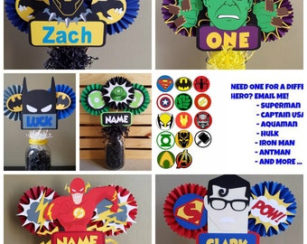 Avengers or Superhero Centerpiece,Superman,Batman,Spider Man,Hulk, Capt USA,Ant Man,Aquaman,Iron Man,Flash,Black Panther,Wolverine,Thor