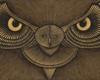 Golden Owl- acrylic on Canvas, 1.20X50cm