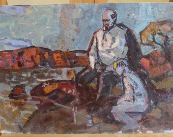 Original Oil portrait IMPRESSIONISM ART Shevchenko T.G. boy Ukraine Painting by Gaiduk V. '70