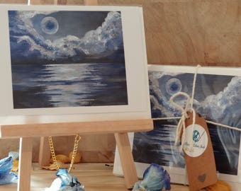 Greetings Cards, Pack of Five, Fine Art Print, Acrylic Painting, Hello Moon - pack of 5.