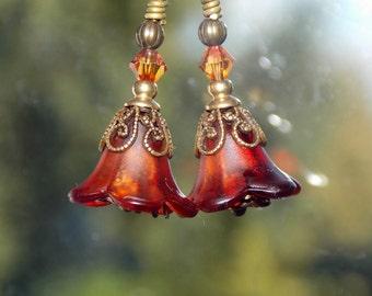 Orange Flower Earrings, Lucite Flower Earrings, 'Mini Sandalwood', Victorian Earrings, Boho Earrings, Vintage Style, Autumn Earrings, Fall