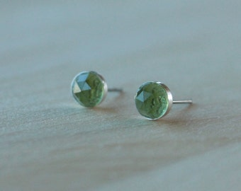 Titanium Stud Earrings Rose Cut Peridot Gemstone / 6mm Bezel Set / Hypoallergenic Earrings Studs