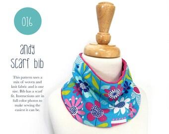 016 Andy Scarf Bib PDF Sewing Pattern Kid Baby Toddler Scarf Bib One Size Gift Shower Sadi & Sam