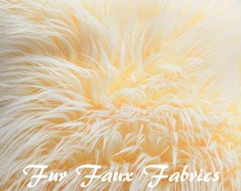 "REMNANTS 6"" x 10"" YELLOW White Mongolian Two Tone Frost Faux Fur Shaggy Luxurious Long Pile  Fur Fabrics"