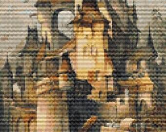 Castle Cross Stitch Chart, Romantic Castle Cross Stitch Pattern PDF, Art Cross Stitch, Hanns Bolz, Embroidery Chart