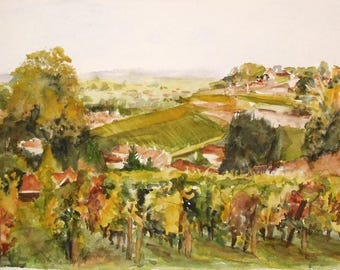 "Watercolor ""Fall in the Gironde"""