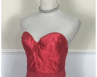 Vintage Red Jacquard Backless Bra Bustier by The Lovable Co., Size 38C