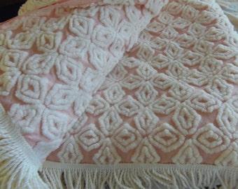 Vintage Hoffman Pink White Chenille Bedspread Beautiful Tumbling Blocks Vintage Chenille Bedspread sewbuzyb