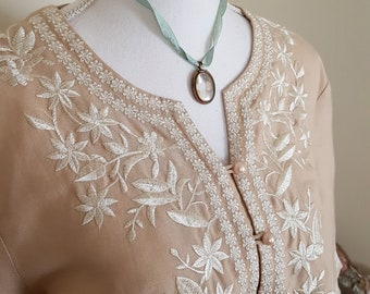 boho embroidered top, beach resort wear, summer holiday, beige tunic, beige embroidered blouse