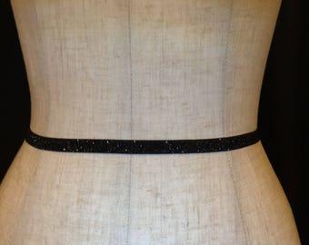 Black Holiday Party Belt,Bridal Accessory Stretch Belt,Thin Dress Belt Wedding,Skinny Elastic belt, Bridesmaid Belt,Glitter Elastic Belt.