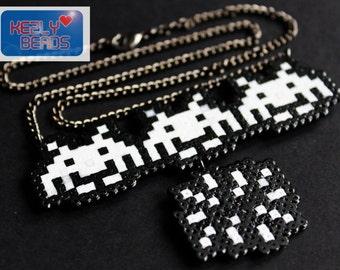 Space invader hamabead Necklace, original handmade design