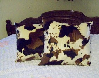 Faux Fur Brown, Black and Tan Cow Pillows Set of 2, 15 X 15 Great Gift and Nice Cow Decor Living Room, Bed Room, Den, Man Cave Ready to Ship
