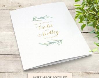 Greenery Booklet Wedding Program Template, Order of Service Booklet | Printable Wedding Program Template DIY Wedding, Edit in WORD or PAGES